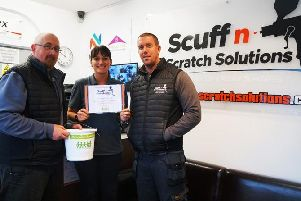 Scuff N Scratch owner Rob Clark, pictured right, with his front of house team Chris and Carly