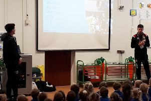 George Williams in assembly at Old Stratford Primary
