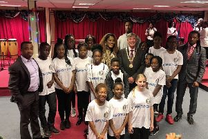 Mayor Sam Crooks with young church members
