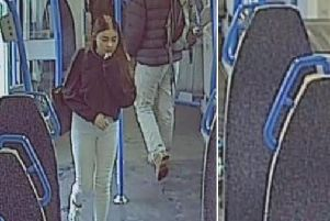 CCTV captured Atlanta looking young and unsure as she boards the train