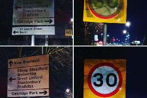 The crew takes before and after photos of signs they clean