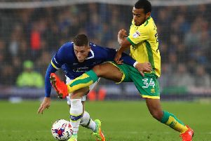 Louis Thompson in action for Norwich