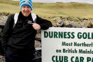 Stuart Macfarlane is pictured on the day he played at Durness, Great Britains most northerly golf club