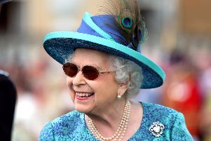 Queen Elizabeth II during a garden party at Buckingham Palace in London