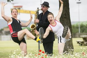 Getting ready for the EastSide Arts Festival were, from left, Eastside Arts Festival performers, Clarke Wilson from Celtic Soul, Henrik Gard and Ali Stranger from Tumble Circus.'  Picture by Brian Morrison