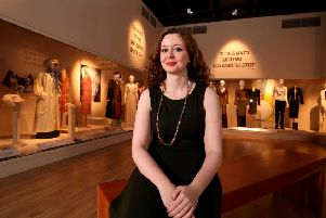 Curator Charlotte McReynolds at the Fashion and Feminism exhibition