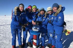 Women from the British Army, known as the Ice Maidens, who became the largest all-female group to ski coast to coast across Antarctica. Two members of the team, Royal Signals reservist Major Sandy Hennis and Honourable Artillery Company reservist Lance Sergeant Sophie Montagne, visited Northern Ireland this week as part of a post-expedition outreach programme. Pic: MoD/Crown Copyright/PA Wire