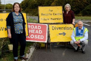 A422 closure petition at Banbury Road, Brackley. From the left, Kate Nash, Cllr. Sue Sharps and Mark Morrell, 'Mr. Pothole'. NNL-180918-150222009