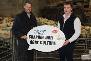 Greyabbey sheep producer John Martin (left) discussing the upcoming farm visit that will be an integral part of the 3rd YFCU agriculture 'conference with James Purcell, chair of the YFCU agriculture and rural 'affairs committee.