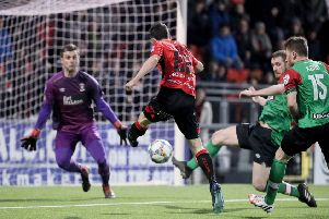 Paul Heatley fires home his second goal on Saturday for Crusaders against Glentoran. Pic by Pacemaker.