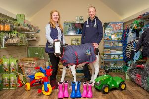 Owner Jamie Beattie with office manager Jill McGeown display some of the toys available at the rural business