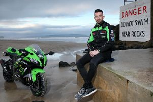 Kawasaki rider Glenn Irwin pictured at Portstewart Strand. The Carrick man will return to the North West 200 again in May.