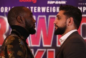 Terence Crawford (left) and Amir Khan during the press conference at The Landmark London Hotel