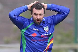 NW Warriors' Stuart Thompson was the best of the Ireland Wolves bowlers, in Sri Lanka.