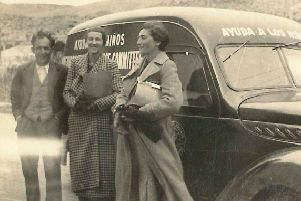 Mary Elmes (centre) in Spain, 1938, with Alice Resch and colleague Juan