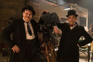 John C. Reilly as Oliver Hardy and Steve Coogan as Stan Laurel PHOTO: PA Photo/Entertainment One/Aimee Spinks
