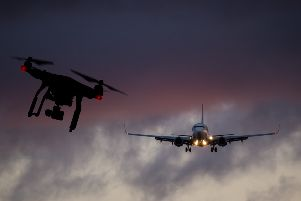 Drones have reportedly been involved in numerous near-misses with planes flying in and out of Gatwick Airport. Composite picture: Shutterstock