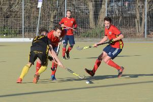 Action from City of Peterborough's win over Beeston (black). Photo: David Lowndes.