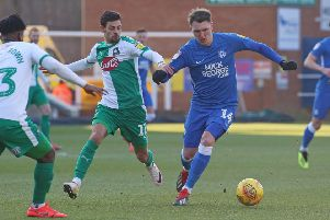 Callum Cooke in action for Posh against Plymouth last weekend. Photo: Joe Dent/theposh.com.