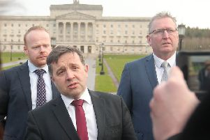 UUP leader Robin Swann (centre) and some of his party colleagues pictured entering Stormont House to meet with the Prime Minister. 'Picture by Jonathan Porter/PressEye