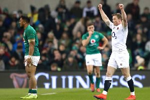 England's Chris Ashton celebrates at the final whistle after beating Ireland in the Six Nations in Dublin on February 2. Photo: �INPHO/James Crombie