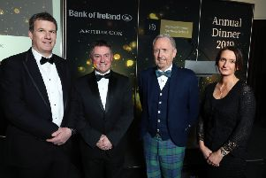 IoD chair Gordon Milligan, second left, with, from left,  Dale Guest, director with main sponsor Bank of Ireland, guest speaker, Glen Dimplex chair Martin McCourt, and  Catriona Gibson, managing partner,  associate sponsor Arthur Cox