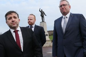 Ulster Unionist Party (UUP) leader Robin Swann (left) and his party colleagues John Stewart (centre) and Doug Beattie arrive at Stormont for talks with Prime Minister Theresa May on  Wednesday February 6, 2019. They raised the legacy of the Troubles with her. Photo: Brian Lawless/PA Wire