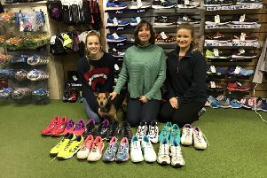 Eve Whitwell, Andrea Beever, Jess Bramley and Max the dog at Warwick Sports.