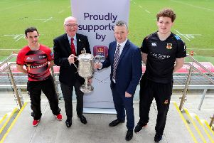 City of Armagh's Harry Doyle, IRFU Ulster Branch President Stephen Elliott, First Trust Bank's James Beattie and Ballymena RFC's Matthew Norris