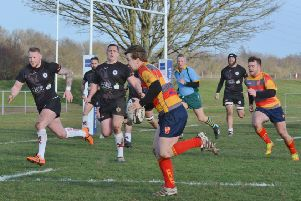 Ryan Morris on his way to the try-line for Borough against Rugby Lions. Picture: David Lowndes