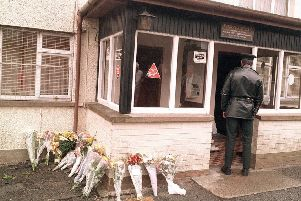 Flowers at the scene of the 1994 Loughinisland massacre