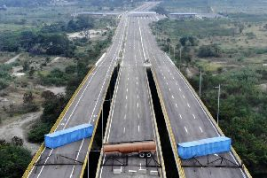 The Tienditas Bridge on the border of Colombia and Venezuela, after Venezuelan forces blocked it ahead of an aid shipment earlier this month