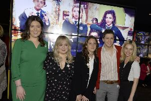 Derry Girls, writer Lisa McGee, on the left, and actors Nicola Coughlan, Louisa Harlandm Dylan Llewellyn and Saoirse Jackson pictured at the Derry Girls premier held in The Omniplex Cinema, Strand Road last night. DER0819GS-001