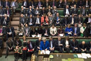 "Prime Minister Theresa May, with Conservative MPs behind her speaks in the House of Commons on January 16, 2019. Chris Moncrieff says: ""Tory MPs, when appealed to by the prime minister to unite over Brexit, simply take no notice"" Photo: Mark Duffy/UK Parliament/PA Wire"