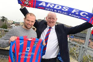 Warren Feeney pictured with Chairman Brian Adams after the press conference in the Strangford Arms in Ards where the announcement was made. Picture By: Pacemaker Press.