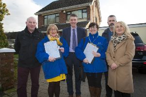 FUEL USE SURVEY. . . . . .The Mayor, Councillor John Boyle (centre), pictured at the launch of the Fuel Use Survey at Greenhaw Road, Derry yesterday afternoon. Survey Interviewers will be knocking on doors across the Council Area in the coming weeks asking householders to take part in the survey. Included from left are Mark McCrystal, Team Leader, Environmental Health, DCSDC, Minty Thompson and Mary McBrearty, Data Collectors/Survey Interviewers, Social Capital North West, Rory McParland and Ciara Ferguson, Social Capital North West.