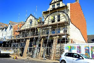 Scaffolding going up around a building In Waterloo Square, Bognor Regis. Pic Steve Robards SR1904343 SUS-190220-125040001