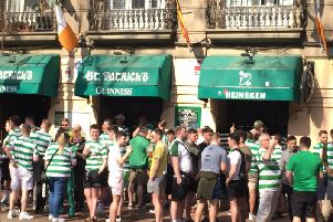 Celtic supporters outside St Patrick's bar in Valencia, Spain, where fans have claimed that they were hurt after being attacked with batons, riot shields and rubber bullets by police ahead of the club's Europa League game against the Spanish team Valencia on Wednesday. Fans.