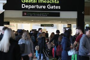 The departure gates at Terminal 1 in Dublin Airport after a confirmed drone sighting forced the temporary suspension of airport operations.