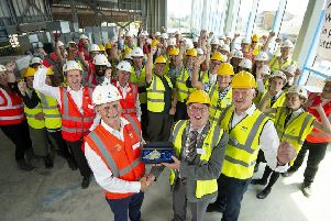 Topping out ceremony of new Littlehampton Leisure Centre last year, which is due to open later in 2019