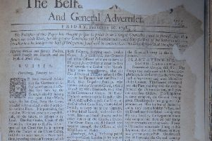 Belfast News Letter February 16 1738 (February 27 1739 in the modern calendar). The paper is ripped at points. This is the earliest surviving paper after the title went up from one sheet to two (from two sides of news to four)