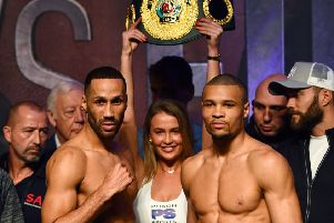 James Degale and Chris Eubank Jr during the weigh in at the The O2
