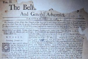The front page of the Belfast News Letter of February 16 1738 (February 27 1739 in the modern calendar). It is the first edition to go up to four sides of news after the launch of the paper in 1737