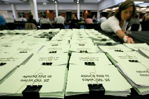 """Ballot papers are sorted in Manchester for the referendum on Av in May 2011. Ben Lowry says: """"The UK thumpingly rejected reform. The current system works for the DUP but for decades it worked for the UUP, then destroyed them"""" Photo: Dave Thompson/PA Wire"""