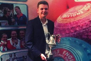 Kieran Rollings shows off the trophy after he was named Bowls Englands Young Male Bowler of the Year