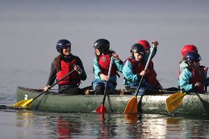 The Duchess of Cambridge takes part in a canoe lesson during her and the Duke of Cambridge's visit to Roscor Youth Village,  Co Fermanagh as part of their two day tour of Northern Ireland