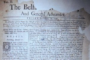 The front page of the Belfast News Letter of February 16 1738 (February 27 1739 in the modern calendar)