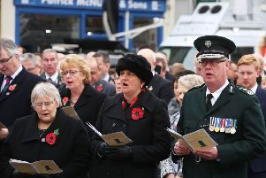 Rosemary Barton, MLA, front left, and Arlene Foster, MLA, centre, and chief constable George Hamilton are among the congregation at the Rembrance service in Enniskillen in 2017, on the 30th anniversary of the 1987 Poppy Day massacre