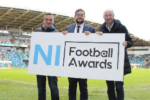 NIFL managing director Andrew Johnston (left) celebrating the launch of this year's NI Football Awards with Keith Bailie and Stephen Watson