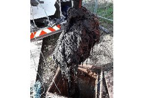 A lump of waste which was dragged out of Worthing's sewers. Picture: Southern Water